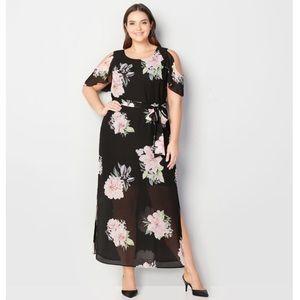 Cold Shoulder Flower Maxi Dress